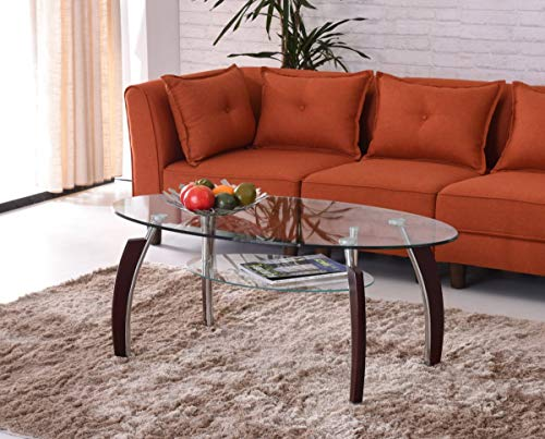 Hodedah Two Tier Oval Tempered Glass Coffee Table, Clear (Table Glass Small Coffee Oval)
