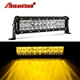 white and amber driving light - LED Light Bar, Autofeel 12 inch 60W Driving Light Emergency Light Fog Light Snow Light Flashing Amber Light Spot Flood Off Road Light with Mounting Bracket for Pickup Truck Jeep ATV UTV SUV Ford