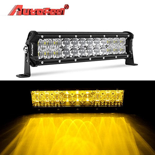 LED Light Bar, Autofeel 12 inch 60W Driving Light Emergency Light Fog Light Snow Light Flashing Amber Light Spot Flood Off Road Light with Mounting Bracket for Pickup Truck Jeep ATV UTV SUV Ford