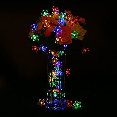 easyDecor Solar String Lights 50 LED 23ft 8 Modes Blossom Flower Garden Christmas lights for Outdoor Indoor Party Wedding Patio Holiday Decorations (Multi Color)