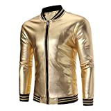 PASATO Men's Vest Solid Long Sleeve Top Pockets Blouse Zipper Shirt Warm Jacket Coat(Gold, M)