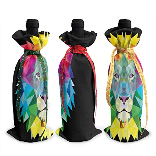 Wine Bag Lion Art Reusable Red Wine Bottle Gift Bags with Drawstring Beer Bottle Wraps Dresses Protector Package Travel 3 Pack