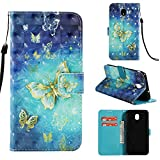 Galaxy J3 2018/Galaxy Express Prime 3/J3 V 3rd Gen/J3 Star/J3 Orbit/J3 Achieve/J3 Prime 2/Amp Prime 3, UZER 3D Premium PU Leather Shockproof Series Kickstand Function Folio Flip Wallet Case