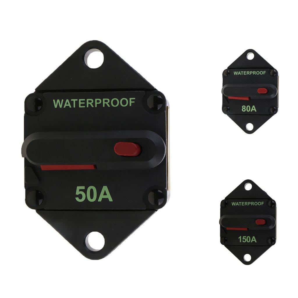 Homyl 12V 24V Automatiksicherungshalter Sicherung Automat Schalter 50A