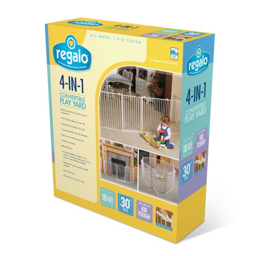 51DbBAIVreL - Regalo 192-Inch Super Wide Adjustable Baby Gate And Play Yard, 4-In-1, Bonus Kit, Includes 4 Pack Of Wall Mounts