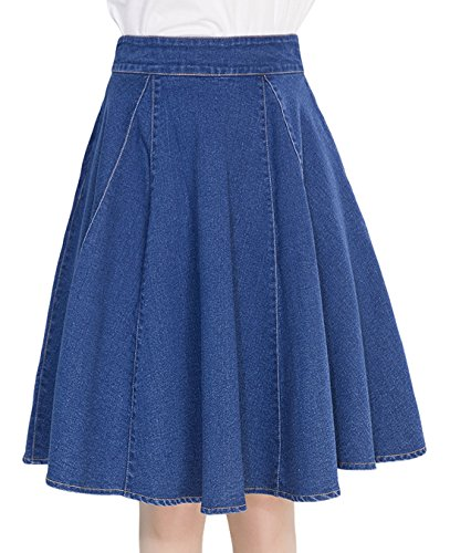 Zip A-line Skirt Back (Chouyatou Women's Casual High Waist A-Line Flare Midi Denim Skirt With Pockets (Large, Blue))
