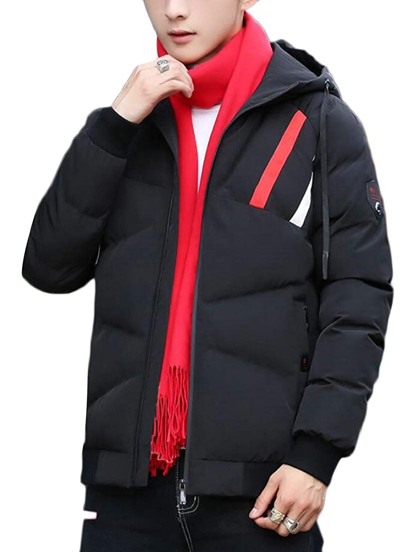 Generic Mens Quilted Front-Zip Thicken Warm Hoodies Winter Slim Fit Down Jacket Coat