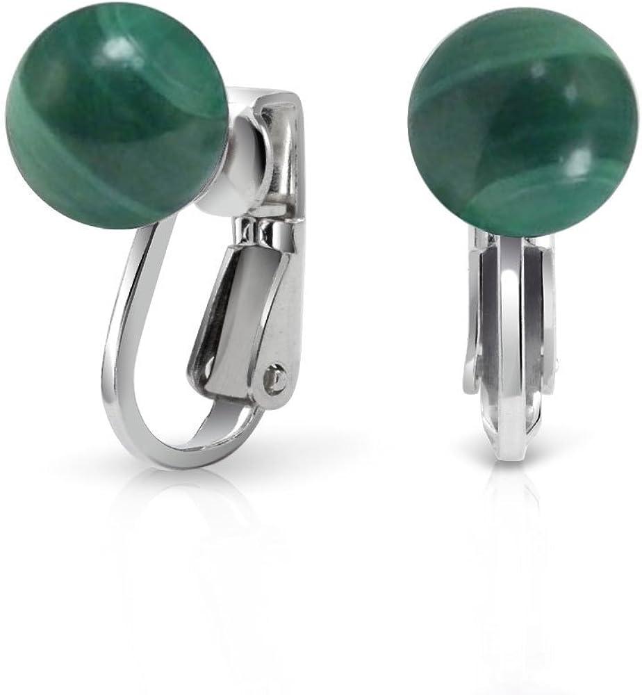 Piedras Preciosa Malaquita Verde Espárrago De Bola Redonda Pendientes De Clip Para Mujer No Piercing 925 Plata De Ley