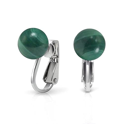 Gemstone Green Malachite Round Ball Stud Clip On Earrings For Women Non Piercing 925 Sterling Silver