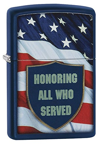 Zippo Honoring All Who Served Pocket Lighter, Navy Matte - Edge Lighter