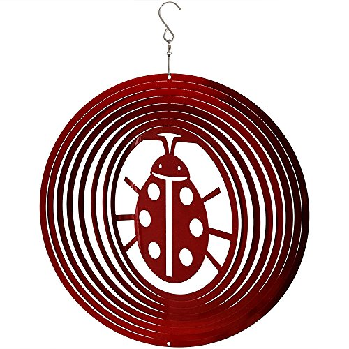 Sunnydaze Decor Reflective 3D Whirligig Ladybug Wind Spinner with Hook, 12-Inch