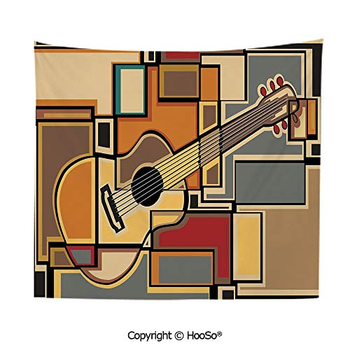 HooSo Durable Washable and Reusable Tapestry Wall Hanging Carpet 59x79in,Funky Fractal Geometric Square Shaped Background with Acoustic Guitar Figure Art,Multi Comfy and No Strange Odor Home Decor