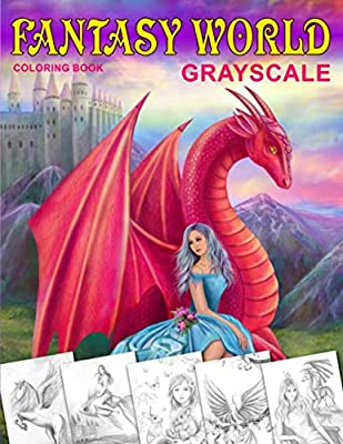 Fantasy World Grayscale Coloring Book Adult Coloring Book