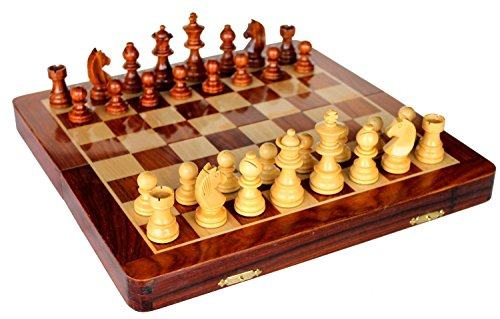 - StonKraft Wooden Rosewood Foldable Travel Magnetic Chess Game Board with Storage Slots, 14 Inch