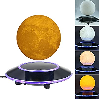 Magnetic Levitating Wireless Moon Lamp Floating and Spinning in the Air Freely with Gradient Warm and White LED Light that Automatically Converted for Home,Office Decoration,Unique Gifts,Night Light