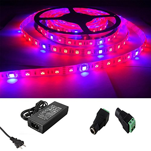 Toogod 16.4ft/5m + 5A Power Adapter Red Blue 4:1 Full Spectrum5050 Waterproof LED Strip Plant Growing Light For Aquarium Greenhouse Hydroponic Plant,Garden Flowers Veg Grow Light DC12V
