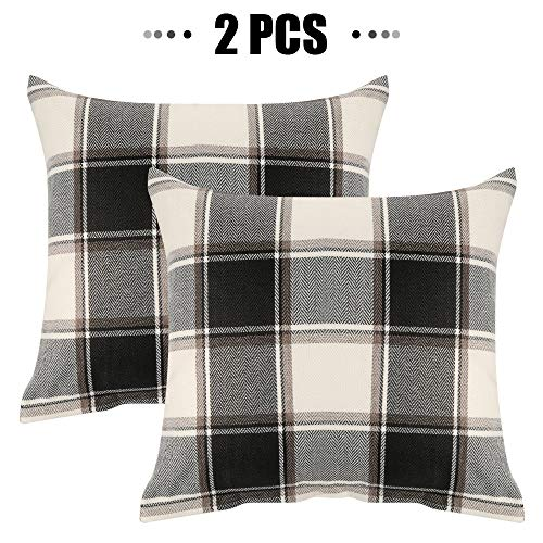 Buffalo Check Throw Pillow Covers 18x18 Cotton Line Black Beige Plaid Cushion Cover Holiday Decorative Throw Pillows For Couch Bed Sofa Pack Of 2 18 X 18 Inch
