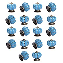 Yazer Excellent Unique Personality Ceramic Pumpkin Knobs Vintage Pulls and Handles for Drawers,Cabinet,Wardrobe,Dresser[Pack of 18] (Blue)