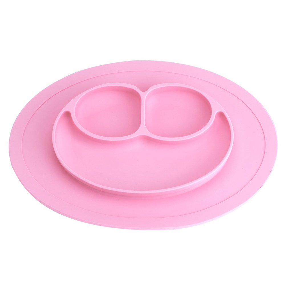 Nourish silicone table mat and divided plate for babies and children, Silicone, blue, 27.4*19.6cm Rocita