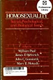 Homosexuality : Social, Psychological, and Biological Issues, , 0803918259