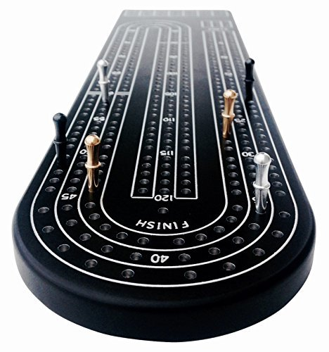 Metal Cribbage Board - Quality Black Cribbage Board by Gapple, Durable Aluminum Material, Precise Engraving, Gorgeous Anodized Finish, Color Variety, Metal Scoring Pegs and Convenient Peg Storage