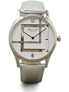 Kenneth Cole New York Womens Silvertone Watch With Metallic Leather Strap