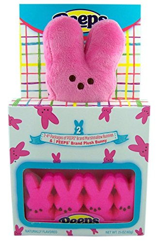 Peeps Pink Plush Bunny with Peeps Marshmallow Candy Bunnies Gift Set]()