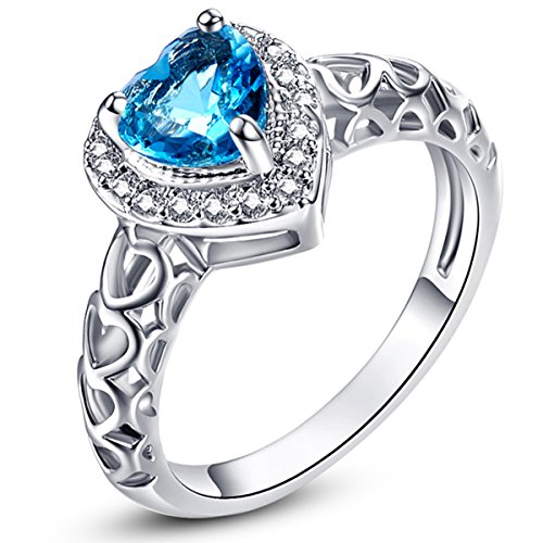 Psiroy 925 Sterling Silver 6mm Chic Heart Cut Blue Topaz Halo Filled Ring for Women (Duo Costume Ideas)