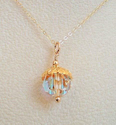 (Aurora Borealis Round Crystal Acorn Pendant 18