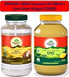 Organic India Coconut Oil 500ml & Organic Ghee Pure Cow Ghee - 445gms