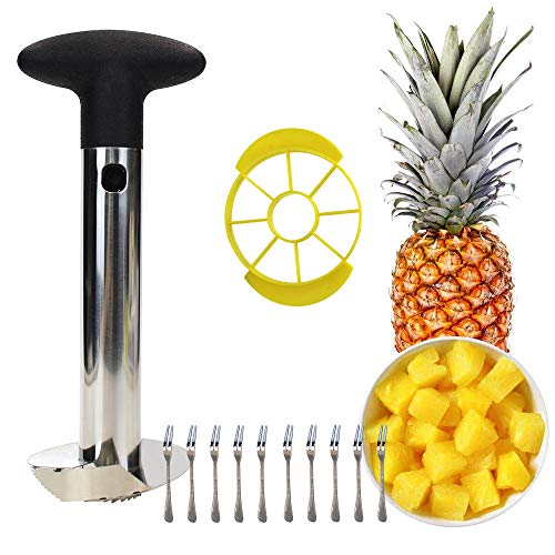 M-Aimee Pineapple Corer Cutter Slicer Peeler, Stainless Steel Pineapple Tools, Easy To Use and Clean, Dishwasher Safe, 10 Fruit Forks