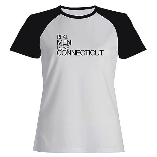 Idakoos Real men love Connecticut - Stati Uniti - Maglietta Raglan Donna