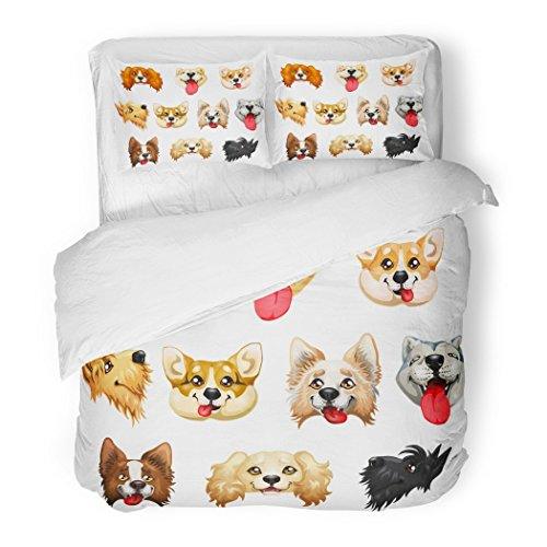 - SanChic Duvet Cover Set the Darling Dogs Breed Cocker Spaniel Border Collie Welsh Corgi Scottish Terrier Akita Inu Color Red Decorative Bedding Set with 2 Pillow Shams Full/Queen Size