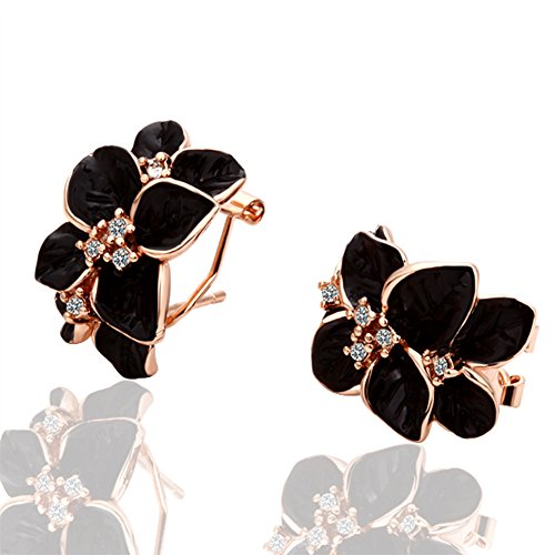 JewelleryClub Rose Gold Plated Swarovski Elements Crystal Flower Cluster Clip on Earrings for Women (Quartz Earrings Cluster Rose)