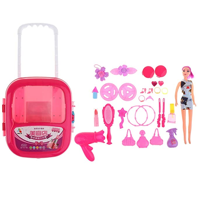non-brand Sharplace Niñas Bolso Cosmético Juguete Carry Case Kids Play Set Secador de Pelo Espejo - Rosa roja, tal como se describe: Amazon.es: Ropa y ...