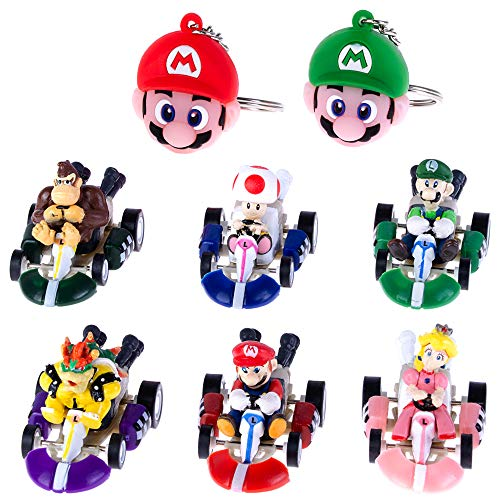 PantShop Mario Kart Cars Pull Backs Figure Set (6 pcs) and Keychains (2 pcs) (Mario Slot Car Race Track Sets)