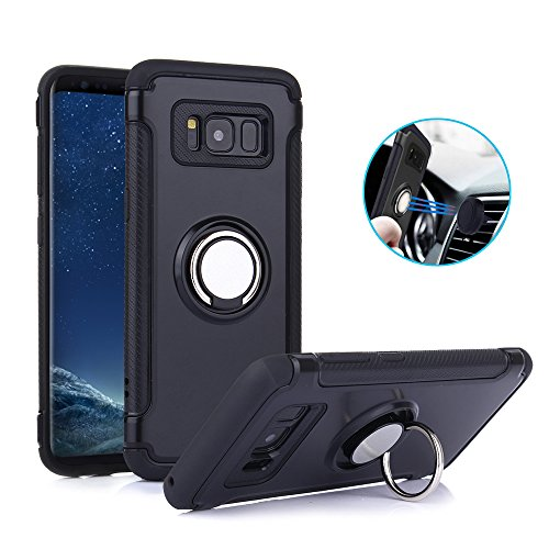TechVibe Galaxy S8 Plus Case, Slim Drop Protection Cover, Ring Grip Holder Stand, Back Magnetic Circle With Air Vent Magnetic Car Vent Mount For Samsung Galaxy S8 Plus - Black