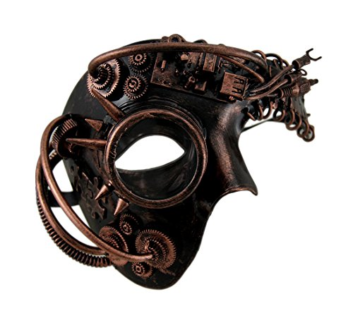 Steampunk Cyborg Costume (Zeckos Dan Droid Steampunk Cyborg Spiked One Eyed Metallic Mask)