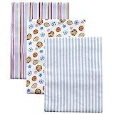 3-Pack Flannel Receiving Blanket Set, Blue