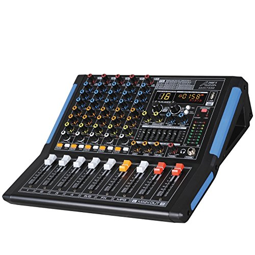 Audio 2000s AMX7332UBT 6-Channel Audio Mixer with USB, Bluetooth and DSP Sound ()