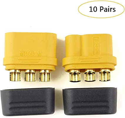 R SODIAL 5 Pairs MT60 3.5mm 3-wire 3-pole Connector Plug Set for RC ESC to Motor 5 Male Connectors /& 5 Female Connectors
