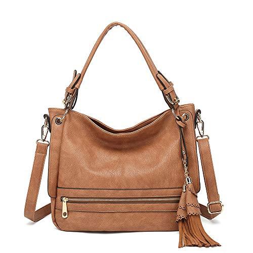 LOPPOP Shoulder Bag for Women Crossbody Bags with Tassel Tote Purses Handbags Brown