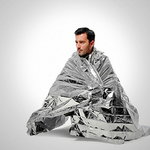 "Optimum Weatherproof Survival Mylar Emergency Solar Blanket, Set of 10 (39"" x 79"")"