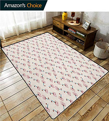 Basketball Animals Area Rug Anti Slip Pad, School Basketball Court Cartoon Style Collage Competition Sports, Easy Maintenance Area Rug Living Room Bedroom Carpet(4'x 6') Blue Vermilion and Brown (Court Octagonal Rug)
