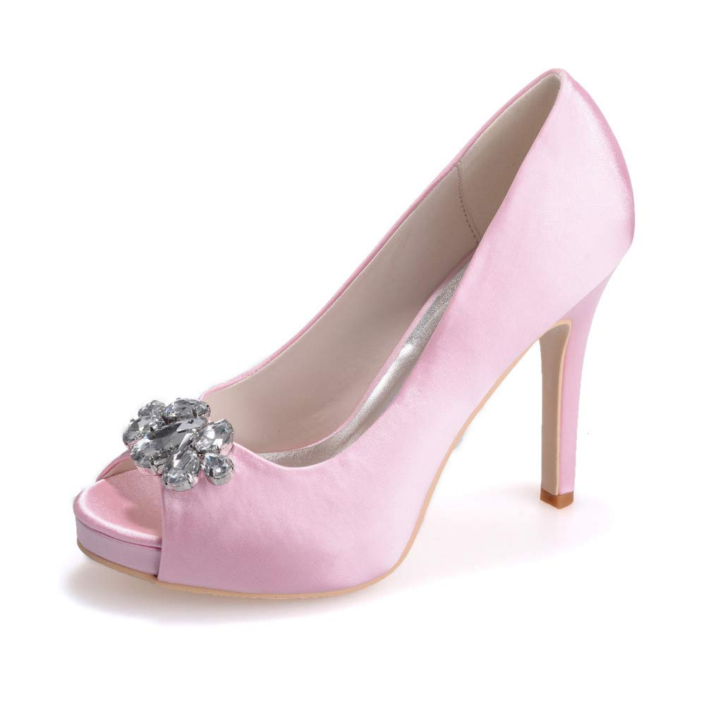 Pink 35 YUGUO High Heels Summer New Women's shoes Luxury Evening shoes Rhinestone Wedding shoes Fish Mouth High-Heeled Wedding shoes Stiletto Sandals