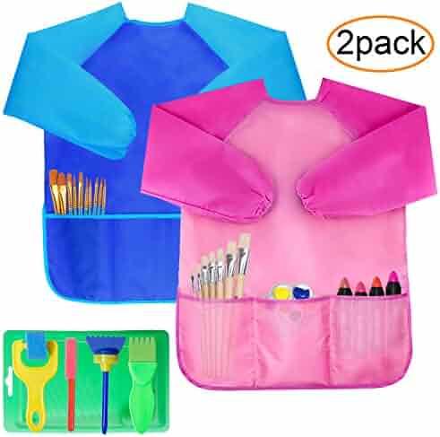 2 Pack Kids Art Smocks, Children Waterproof Artist Painting Aprons Long Sleeve with 3 Pockets, Including Kids Sponge Painting Brushes Kit