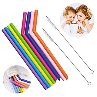 Silicone Straws,8 Smoothie and Juice Straws with 2 Cleaning Brushes,BPA Free Reusable Drinking Straws,Extra Long Bendy Straw for Hot & Cold Drinks