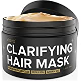 xtava Clarifying Clay Hair Mask with Argan Oil 8 Fl.Oz - Repairing and Conditioning Leave In Treatment for Dry Damaged or Oily Hair - Overnight Mask for Straight, Wavy, Curly and Natural Hair