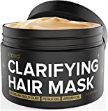xtava Clarifying Hair Clay Mask with Argan Oil 8 Fl.Oz - Repairing and Conditioning Hair Treatment for Oily or Dry Damaged Hair - Overnight Hair Mask for Straight, Wavy, Curly and Natural Hair