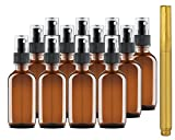 Culinaire 12 Pack Of 2 oz Amber Glass Bottles with Spray Tops and Gold Glass Pen